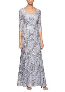 Alex Evenings Sequin Lace Gown