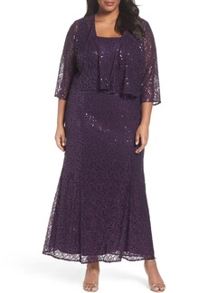 Alex Evenings Sequin Lace Gown with Jacket (Plus Size)