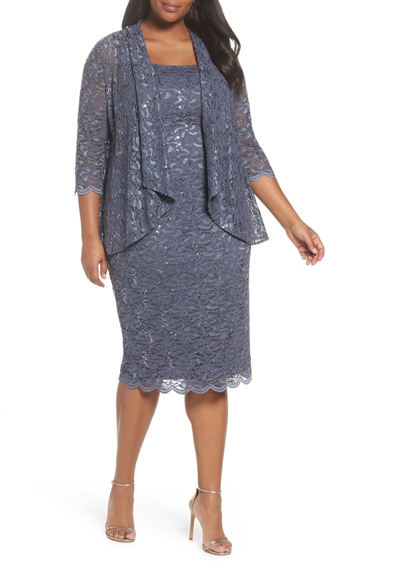 Alex Evenings Alex Evenings Sequin Lace Jacket Dress Plus