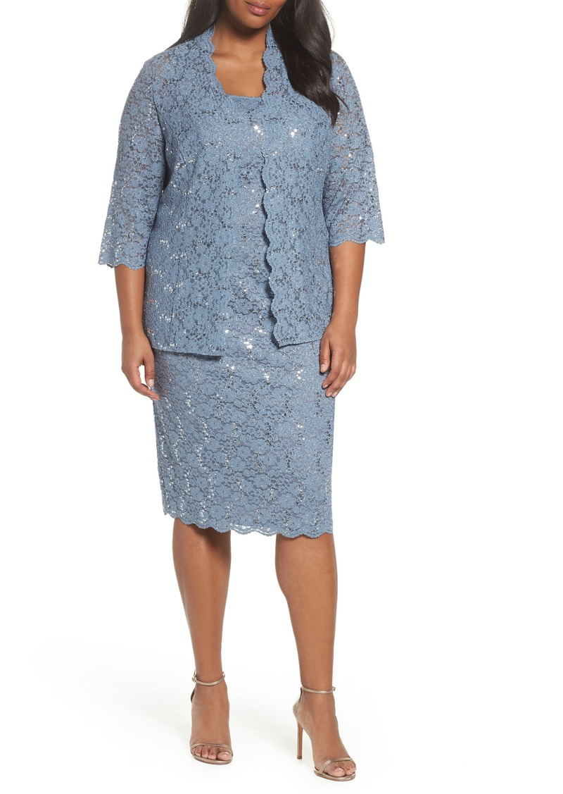 Sequin Lace Jacket Dress (Plus Size)