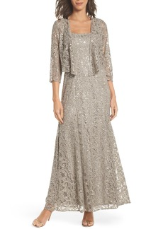 Alex Evenings Sequin Lace Jacket Gown