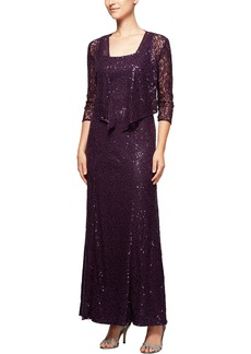 Alex Evenings Sequin Lace Long Dress with Jacket