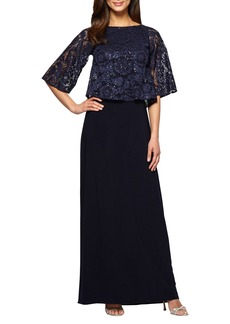 Alex Evenings Sequin Lace Popover Gown