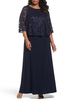 Alex Evenings Sequin Lace Popover Gown (Plus Size)