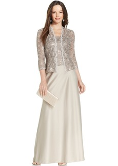 Alex Evenings Sequin-Lace Satin Gown and Jacket