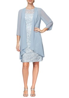 Alex Evenings Sequin Lace Sheath Dress & Chiffon Jacket