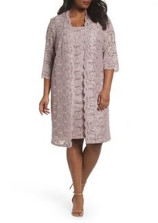 Alex Evenings Sequin Lace Sheath Dress with Jacket (Plus Size)