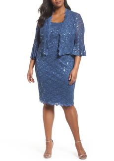 Alex Evenings Sequin Lace Sheath Dress with Jacket (Plus Size)
