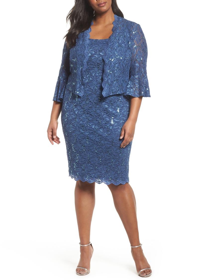 64d3fb3b94daa Alex Evenings Alex Evenings Sequin Lace Sheath Dress with Jacket ...