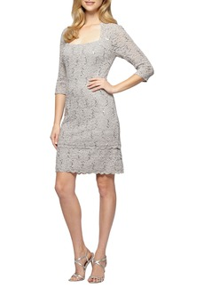 Alex Evenings Sequin Lace Shift Dress (Regular & Petite)