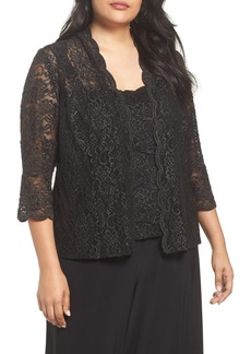 Alex Evenings Sequin Lace Twinset (Plus Size)