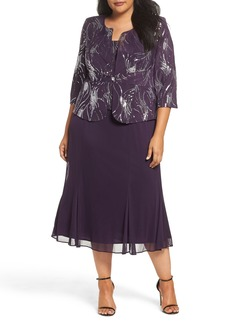 Alex Evenings Sequin Mock Two-Piece Dress with Jacket (Plus Size)