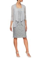 Alex Evenings Sequin Sheath Dress with Jacket (Regular & Petite)