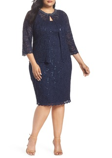 Alex Evenings Sequin Shift Dress & Jacket (Plus Size)
