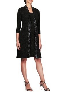Alex Evenings Sequin Shift Dress with Jacket (Regular & Petite)