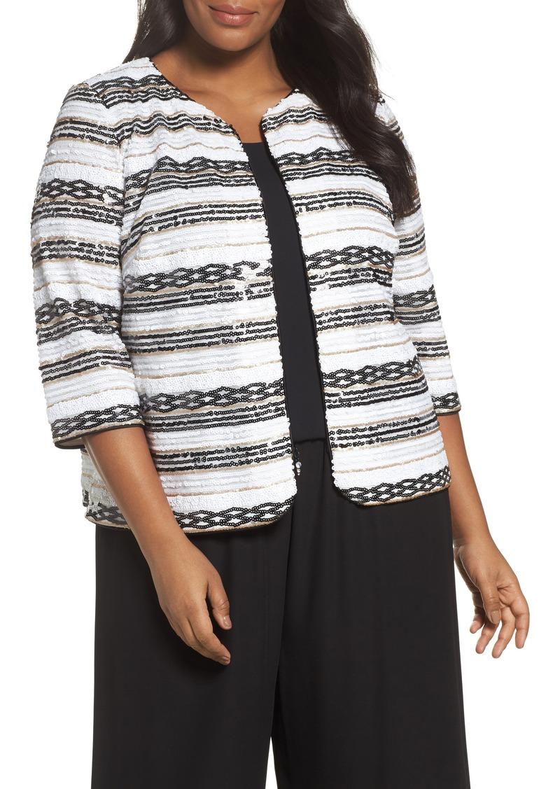 57789c245f Alex Evenings Alex Evenings Sequin Stripe Jacket (Plus Size)