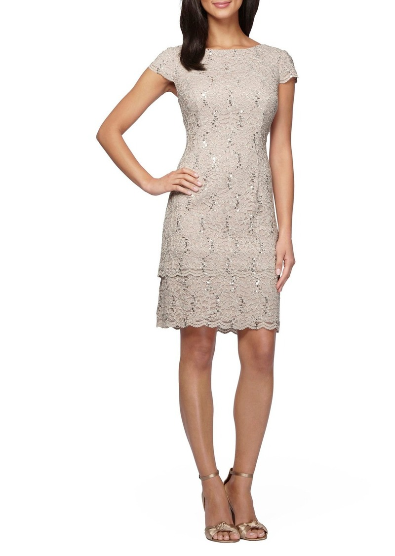 Alex Evenings Sequin Tiered Lace Sheath Dress (Regular & Petite)