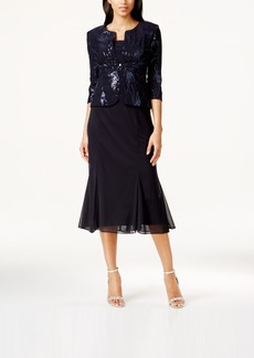 Alex Evenings Sequined A-Line Midi Dress and Jacket