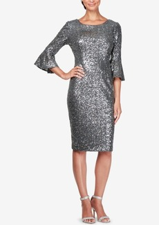 Alex Evenings Sequined Bell-Sleeve Dress