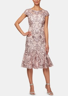 Alex Evenings Sequined Floral Embroidered Midi Dress