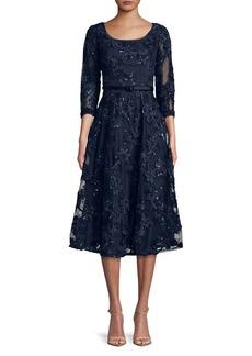 Alex Evenings Sequined Floral Tea-Length A-Line Dress