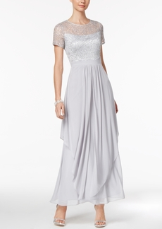 Alex Evenings Sequined Illusion Draped Gown