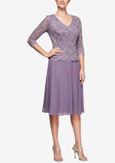 Alex Evenings Sequined Lace & Chiffon Dress