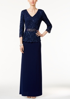 Alex Evenings Sequined Lace Belted Gown