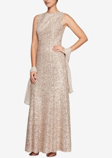 Alex Evenings Sequined Lace Gown & Shawl