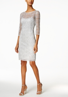 Alex Evenings Sequined Lace Illusion Sheath Dress