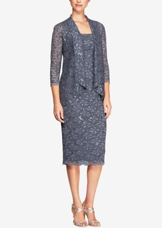 Alex Evenings Sequined Lace Jacket & Tea-Length Dress