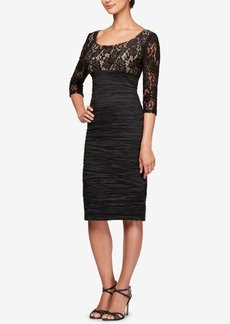 Alex Evenings Sequined Lace Ruched Sheath Dress