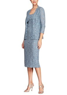 Alex Evenings Sequined Lace Sheath Dress with Jacket