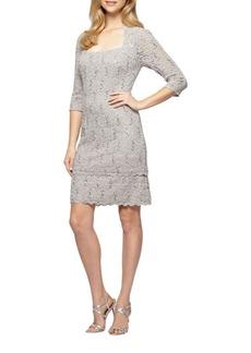 Alex Evenings Sequined Lace Shift Dress