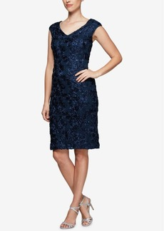 Alex Evenings Sequined Rosette Lace Dress
