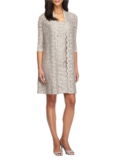 ALEX EVENINGS Shift Lace Dress and Elongated Illusion Jacket