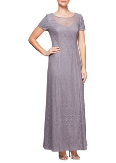 Alex Evenings Short-Sleeve A-Line Dress