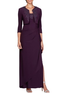 Alex Evenings Side Ruched Evening Dress with Bolero (Regular & Petite)