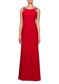 Alex Evenings Side Ruched Gown (Regular & Petite)