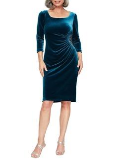 Alex Evenings Side Ruched Velvet Cocktail Dress