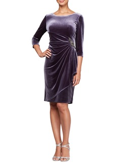 Alex Evenings Side Ruched Velvet Cocktail Dress (Regular & Petite)