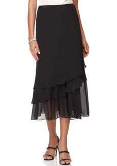 Alex Evenings Petite Skirt, Tiered Chiffon Tea Length
