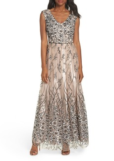 Alex Evenings Sleeveless Embroidered Gown