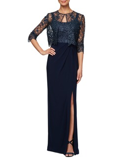 Alex Evenings Sleeveless Evening Dress with Lace Jacket (Regular & Petite)
