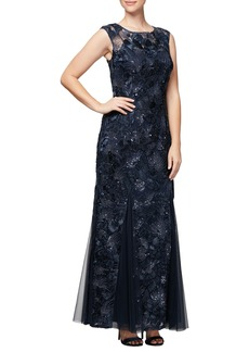 Alex Evenings Soutache & Sequin Gown (Regular & Petite)