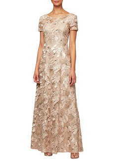 Alex Evenings Soutache Evening Dress (Regular & Petite)
