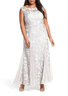 Alex Evenings Soutache Stretch Tulle A-Line Gown (Plus Size)
