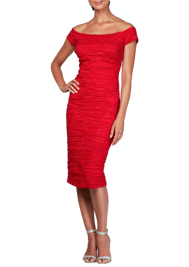 Alex Evenings Stretch Taffeta Midi Cocktail Dress