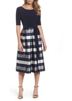 Alex Evenings Stripe Fit & Flare Dress