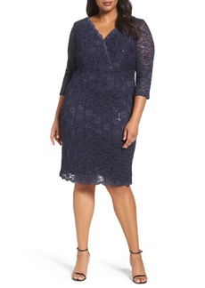 Alex Evenings Surplice Sequin Lace Sheath Dress (Plus Size)
